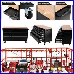 10 Drawer Rolling Tool Chest Wooden Steel Cabinet Boxes Garage Storage Organizer