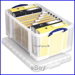 10 Heavy Duty Clear Plastic Storage Stackable Boxes with Lid & Handles 64 LITRE