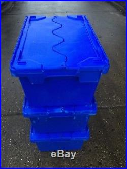 10 X Large Heavy Duty Plastic Moving Storage Lidded Tote Boxes 70x46x34cm 90Ltr