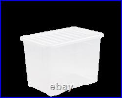 10 x 80 Litre CLEAR PLASTIC Large Storage Box With Lids Strong Nestable