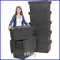 10 x LARGE Black Plastic Crates Storage Box Containers 80L