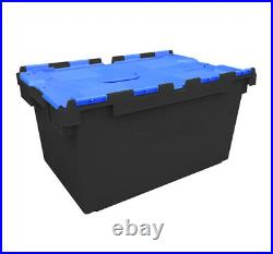 10 x LARGE Plastic Crates Storage Box Containers 80L Black Body with Blue Lid