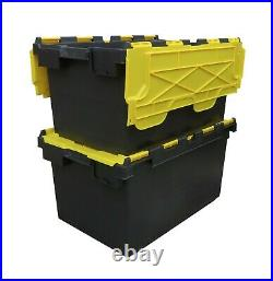 10 x LARGE Plastic Crates Storage Box Containers 80L Black Body with Yellow Lid