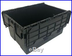 10 x NEW BLACK 53 Litre Plastic Storage Boxes Containers Crates Totes with Lids