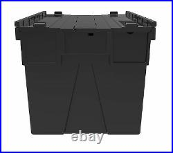 10 x NEW BLACK 65 Litre Plastic Storage Boxes Containers Crates Totes with Lids