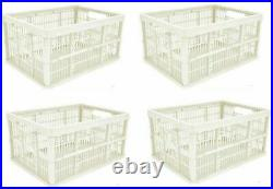 10x Mushroom Colour Folding 32l Plastic Collapsible Storage Crate Stackable Home