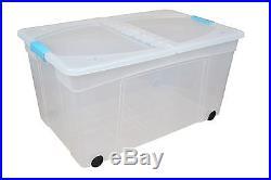 110 Litre Plastic Storage Boxes with Lids Large Clear Box Clip Lid u0026 Wheels  sc 1 st  Storage Boxes Large & 110 Litre Plastic Storage Boxes with Lids Large Clear Box Clip Lid ...