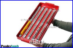 110pc Large Deep Socket Set Rail Rack Tray 1/4 3/8 1/2 Clip Tool Box Storage