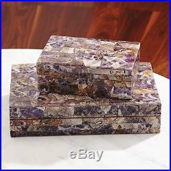 11 Wide Amethyst Stone Box Large Solid Hand-polished Semiprecious Stones Treasu