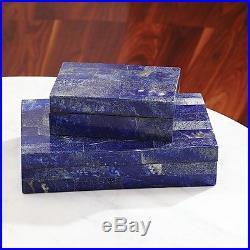 11 Wide Lapis Stone Box Large Solid Hand-polished Semiprecious Stones Treasure