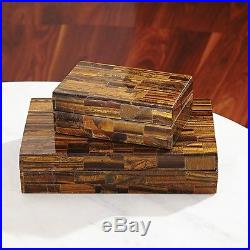 11 Wide Tigereye Stone Box Large Solid Hand-polished Semiprecious Stones Treasu