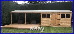 14'x10' Tanalised 19mm t&g Loglap Summerhouse inc LARGE PATIO CANOPY AREA