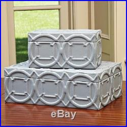 19.75 Wide Arabesque Trapunto Box Grey Large Trapunto Gives Raised Relief Stitc