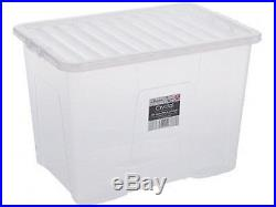 20 X Containers Plastic Storage Boxes With Lids Large 80ltr Made In Uk New