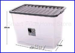 20 x 80L CONTAINER PLASTIC STORAGE BOX LARGE 80LTR LITRE BOXES CLEAR WITH LIDS