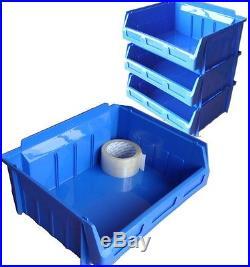 20 x SIZE 5 EX LARGE BLUE PLASTIC STORAGE STACKING PICKING BINS BOXES