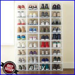 24 New Drop Front Shoe Box Men's Large Sneakers Storage Organizers