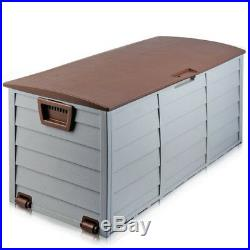 290L Garden Plastic Shed Storage Outdoor Box Large Patio Cabinet Garage Brown