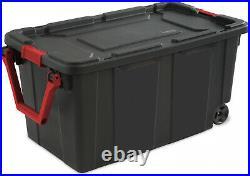 2 PACK Sterilite Latch Tote Storage Box 40 Gallon Wheels Container Case Stack