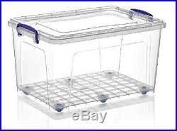 2 x Large Strong 42L Clear Plastic Storage Box Boxes Wheels Lid Container #30167