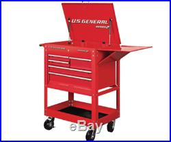 30 in 5 DRAWER RED Mechanic's Cart Chest Box Auto Shop Roll Swivel Tool Storage