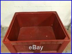 3 x Plastic Pallet Box Crate Storage Bin Brown Large