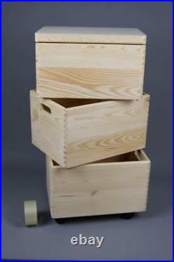3x LARGE STACKABLE PLAIN WOODEN TOY BOX STORAGE UNIT CRATES KIDS BEDROOM R0114D