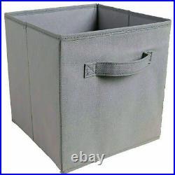 4X Canvas Storage Boxes Foldable Basket Cube Magazine Bookcase Shelving Shelf
