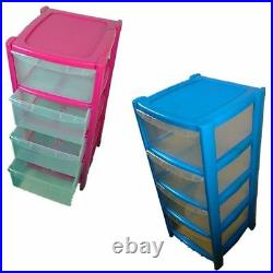4 Drawer Pink/blue Tower Unit! Plastic Storage Drawers! Storage Organizer