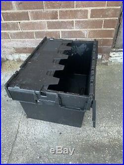 50 Black Tote Boxes (slightly Damaged)Large Plastic Storage tote Boxes