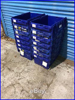 50 x Large Tote Boxes, Stackable Romoval Storage Crates, Boxes, Container
