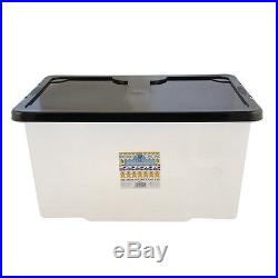 5 x 50 Litre Plastic Storage Boxes with Clip Lid Large L Box Chest Tub Stackable