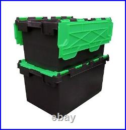 5 x LARGE Plastic Crates Storage Box Containers 80L Black Body with Green Lid