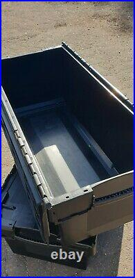 5 x Nearly New Black Plastic Removal Storage Crate Container 130 Litre
