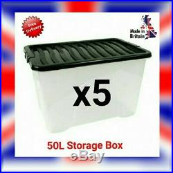 5x 50L 50 Litre Strong Storage Box Clear Plastic Stackable Container