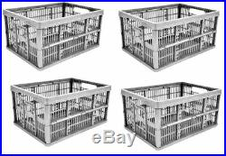 5x Grey Silver 32l Folding Plastic Collapsible Storage Boxes Crates Stackable