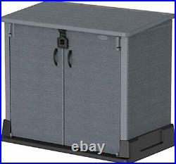 850L Plastic Garden Storage Shed Colour Grey Bikes, 2x 120ltr Wheelie Bins