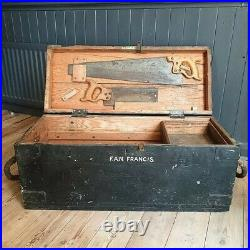 Antique Carpenters Tool Chest Vintage Wooden Storage Box With Tools Extra Large
