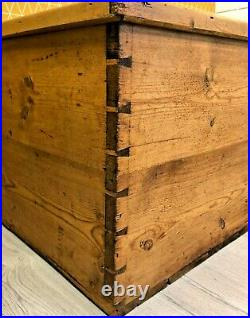 Antique Extra Large Pitch Pine Storage Chest Trunk Blanket Box Toy Box