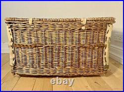 Antique Industrial Large Wicker Basket Mill Architectural Interior Storage Box