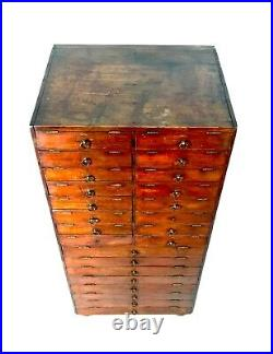 Antique Large Wooden Collectors Cabinet / Filing Chest of Drawers / Storage Box