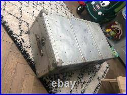 Antique Vintage large Metal Trunk, Storage Box, chest coffee table