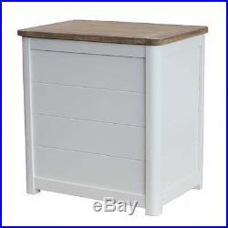 Antique White Wooden Laundry Storage Box Wood Bin Hamper Basket With Lid Lidded