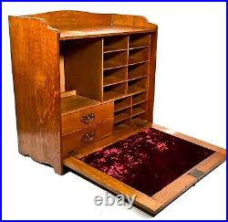 Antique Wooden Oak Large Tabletop Stationary Box / Cabinet / Storage Unit & Key