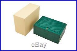 Authentic Rolex Green Large Wavy Watch Storage Box Beige Inner Velvet
