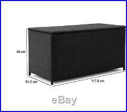 BEST Hydraulic poly Rattan Garden Large Storage Box XXL Terrace Storage Seater