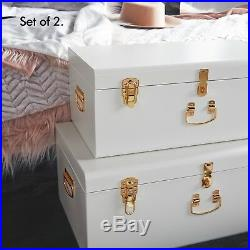 Beautify Extra Large Storage Trunks Box Chest Set of 2 White Bedroom Living Room