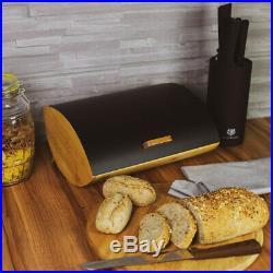 Black Modern Bread Bin Food Storage Box Loaf Roll Large Kitchen Bamboo Wood Gift