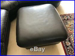 Brown real leather corner sofa seats 5 with large matching storage box pouffe