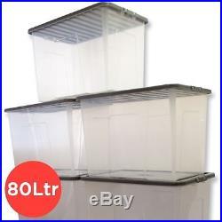 Clear Plastic Storage Box 80 Ltr, Litre/ Big Stacker Boxes Large Contanier & LID